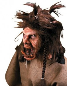 brown drooly troll mask with bad hair and an almost disconnected jaw. Ew.