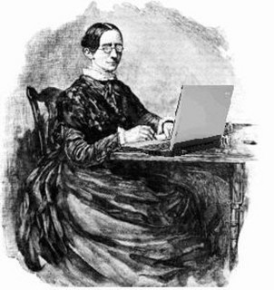 victorian lady in large black dress and spectacles sitting at a laptop