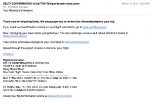 delta screenshot of phish attempt spam