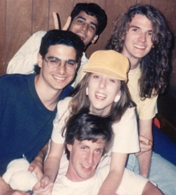 a picture of young christine with 4 male friends