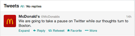 mcdonald's tweet that says they are pausing in light of the bombings in Boston