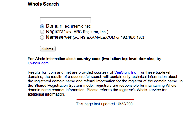 a screenshot of Internic.net's whois page