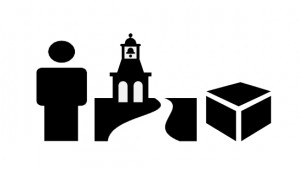 a black and white simple representation of a person, a historical monument and a plain box