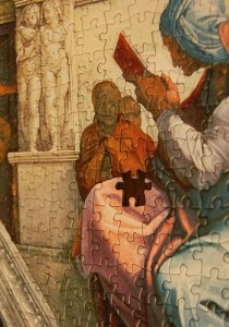 religious painting puzzle with missing piece