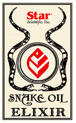 "an old label, 1900s era, for a bottle of ""snake oil"" with two serpents facing each other under a red leaf logo"