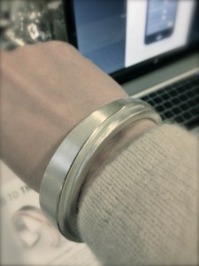 pic of a silver, designed bracelet