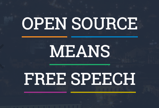 "Pic of SourceFabric Motto. White block type on black background: ""Open Source Means Free Speech."""