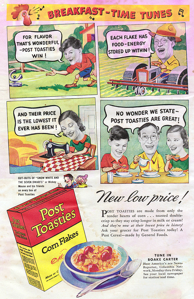 "old newspaper color ad for ""post toasties"" cereal"
