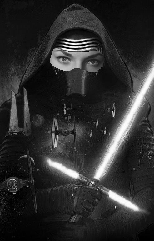 Actress Lauren Bacall's face juxtaposed on top of character Kylo Ren's face