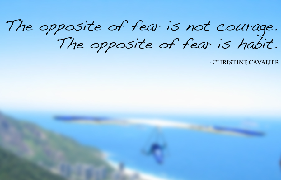 The opposite of fear is not courage. The opposite of fear is habit. -Christine Cavalier