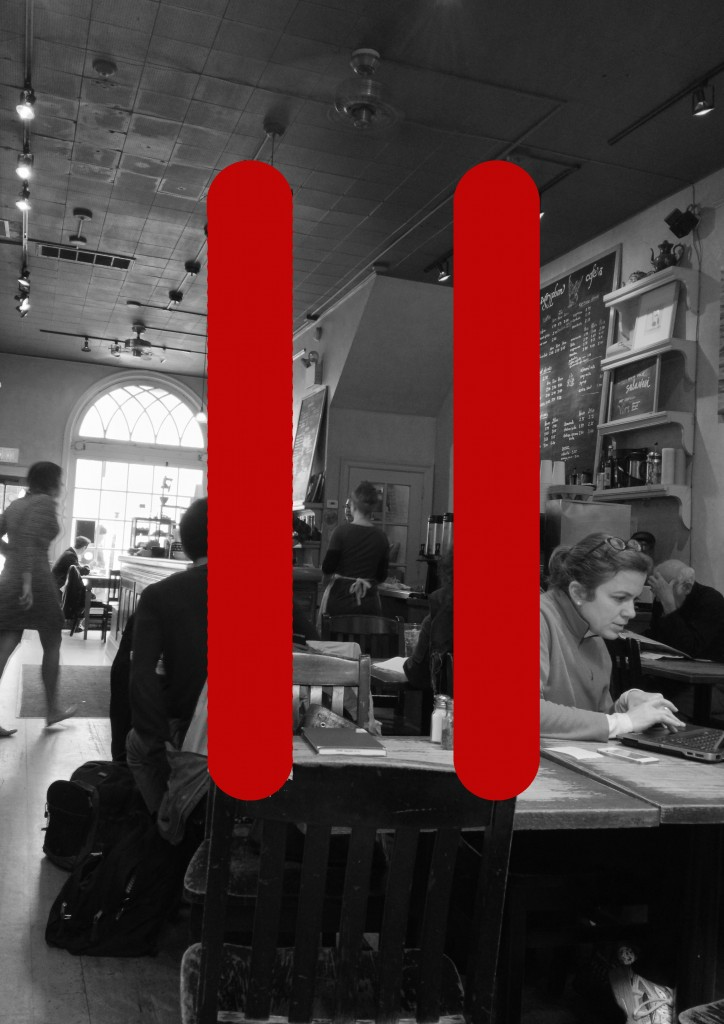 "Black and white photo of a coffee shop with a ""pause"" symbol (two red parallel lines) overlaid on it"