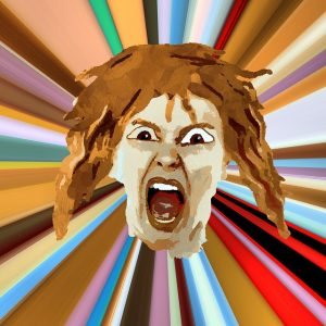 cartoonish drawing of a white woman with light brown/reddish hair with her mouth wide open in a yell, set against a multicolored, striped, inward-angle background