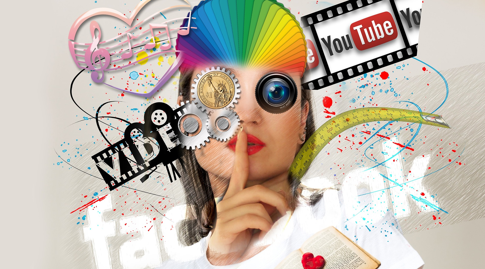 collage of different colors of a woman holding a finger to her lips. she is surrounded by social media logos.