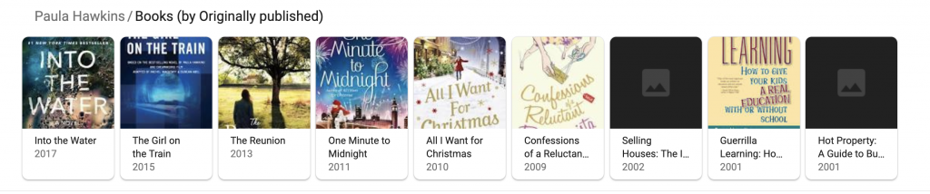 "Screen shot of image list of Paula Hawkins books from a Google Search of ""Paula Hawkins books by year"""