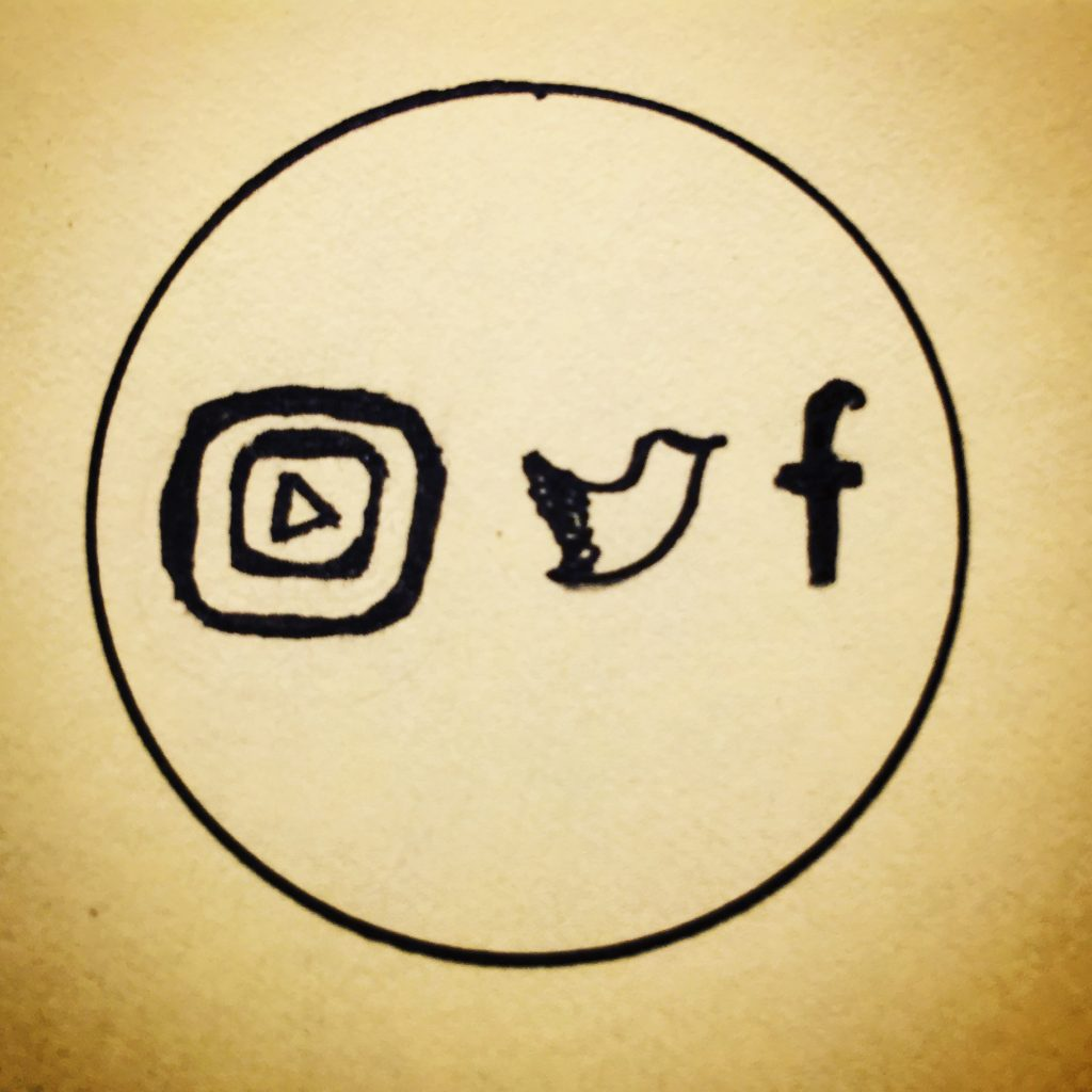a black ink circle with hand drawn logs of youtube, twitter and facebook