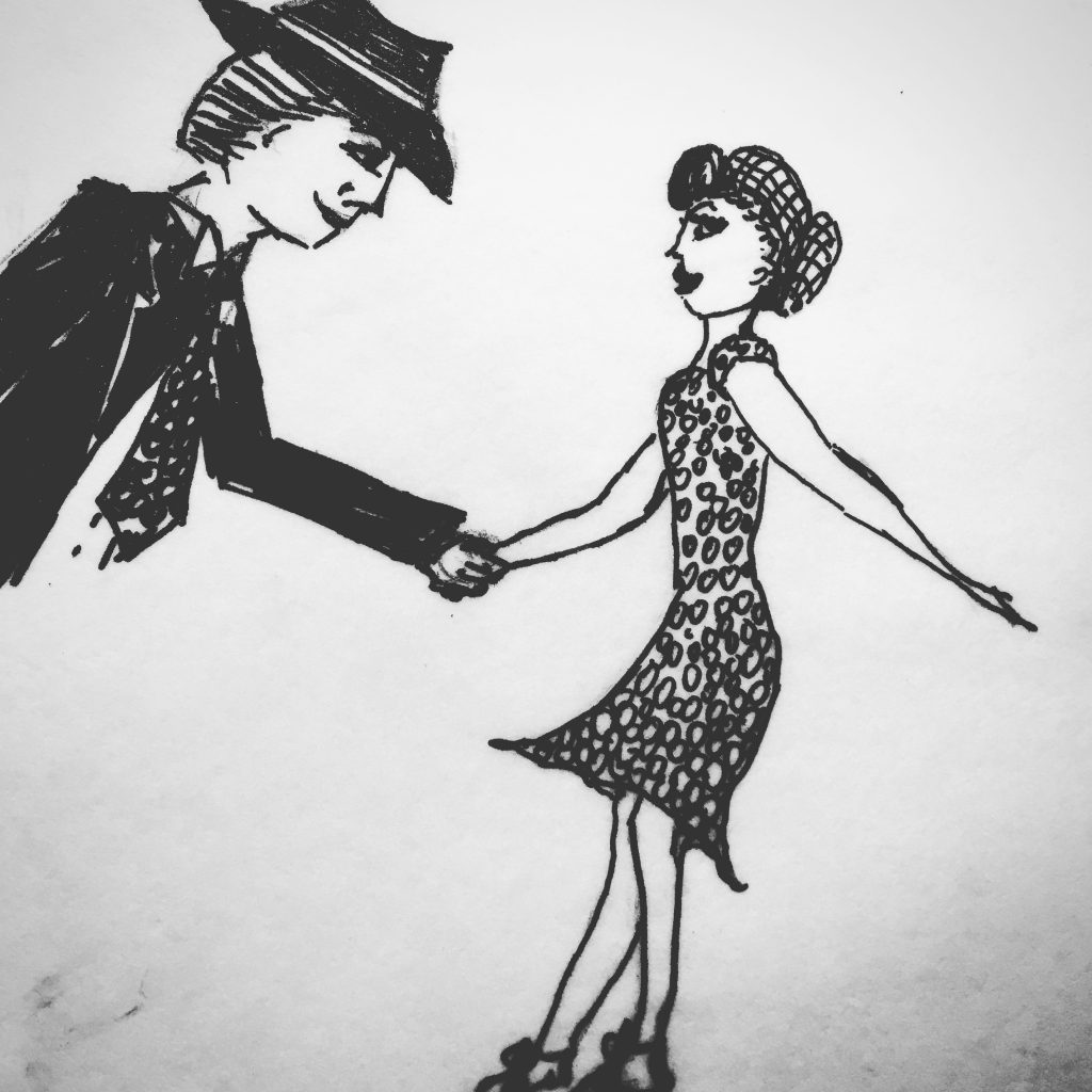 a hand-drawn, basic and rudimentary sketch of two swing dancers