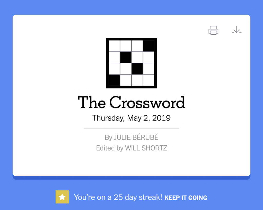 "screen shot of the crossword icon. Under the icon there is a notification that says ""You're on a 25 day streak! KEEP IT GOING."""