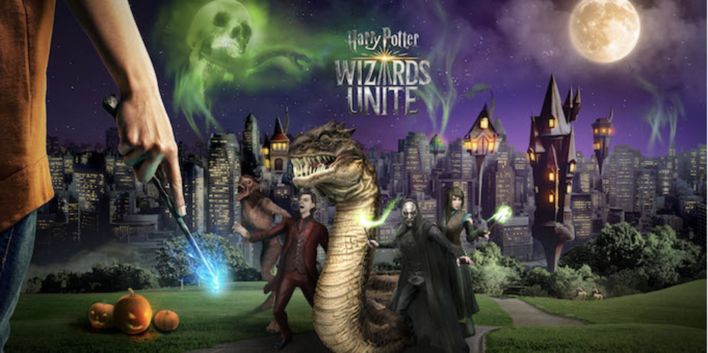 a branded drawn scene of Harry Potter world characters - a promo for an online event for the game