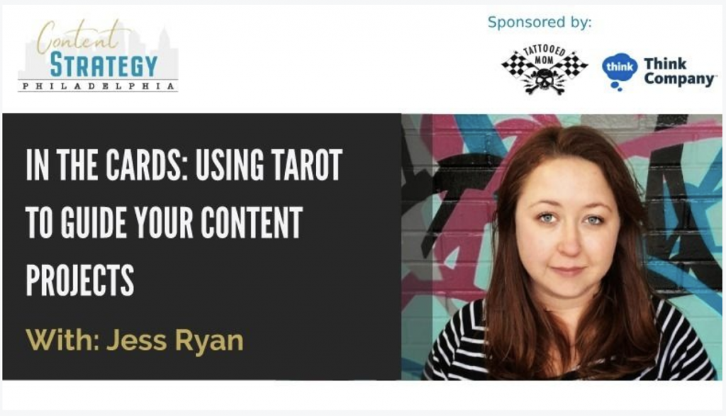 "Header for the MeetUp Meeting with the title ""In the Cards: Using Tarot to Guide Your Content Projects"""