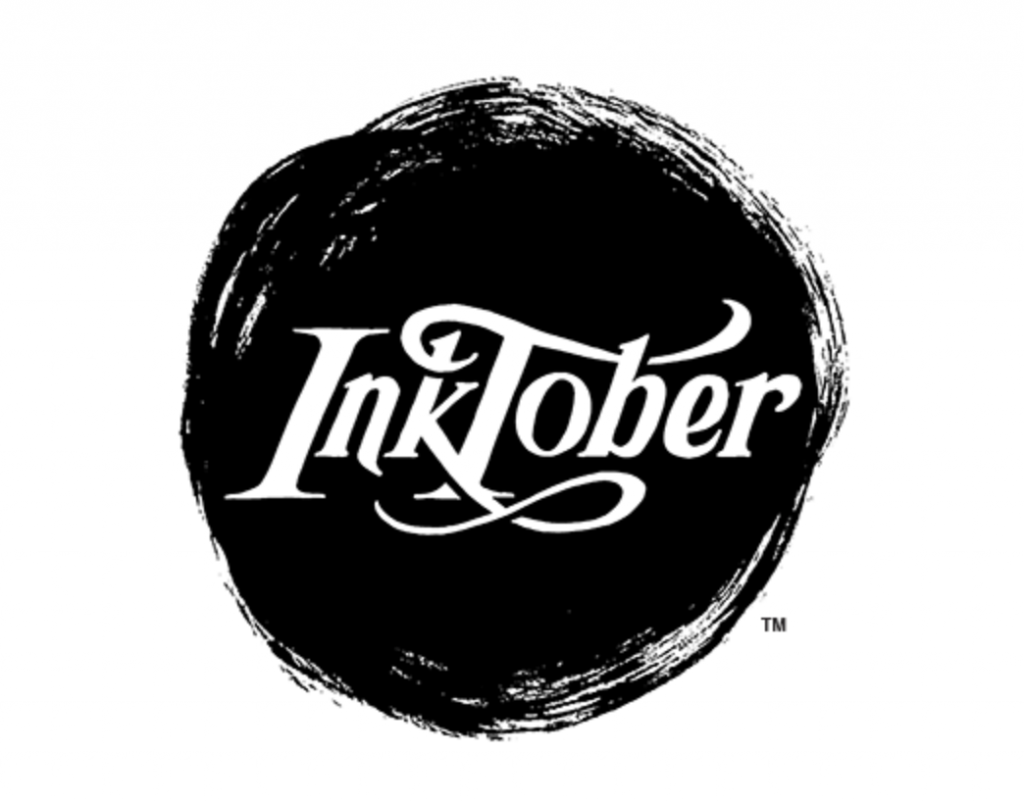 "a large black inkspot with the Inktober logo in it in white, set against a white background. There is a tiny ""TM"" next to the ink blot to note the Trademark. Owned by Jake Parker,"