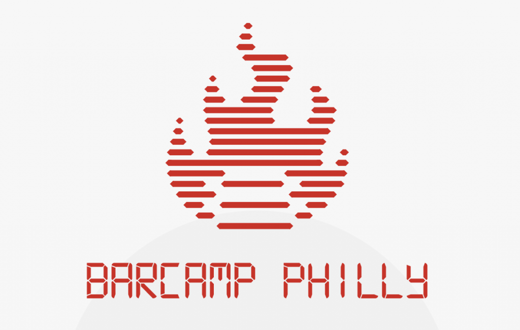 "a screenshot of the Barcamp Philly logo, a digitized flame in red with ""BARCAMP PHILLY"" written in all caps digital font"