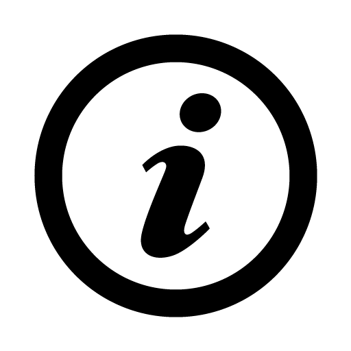 """black circle against white background. inside the circle is a lower case I in italics. It symbolizes the """"information"""" page"""