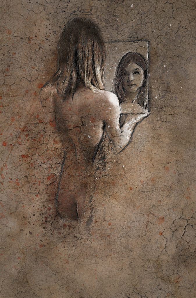 crackled sepia pencil sketch picture of a woman's bare back and butt looking into a hand held square mirror where we can see only her face